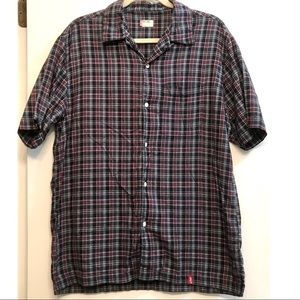 Levi's Red Tab Short Sleeve Button Down Plaid Top